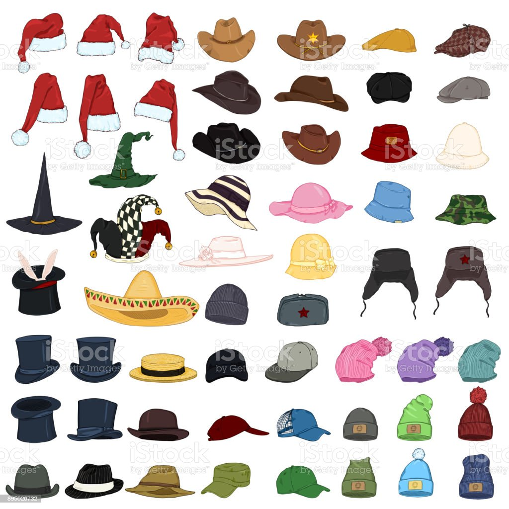 Vector Big Set of Cartoon Hats and Caps. 57 Headwear Items. vector art illustration