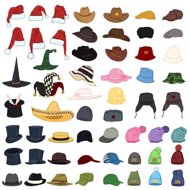 Vector Big Set of Cartoon Hats and Caps. 57 Headwear Items. Vector Big Set of Cartoon Color Hats and Caps. 57 Headwear Items. knit hat stock illustrations