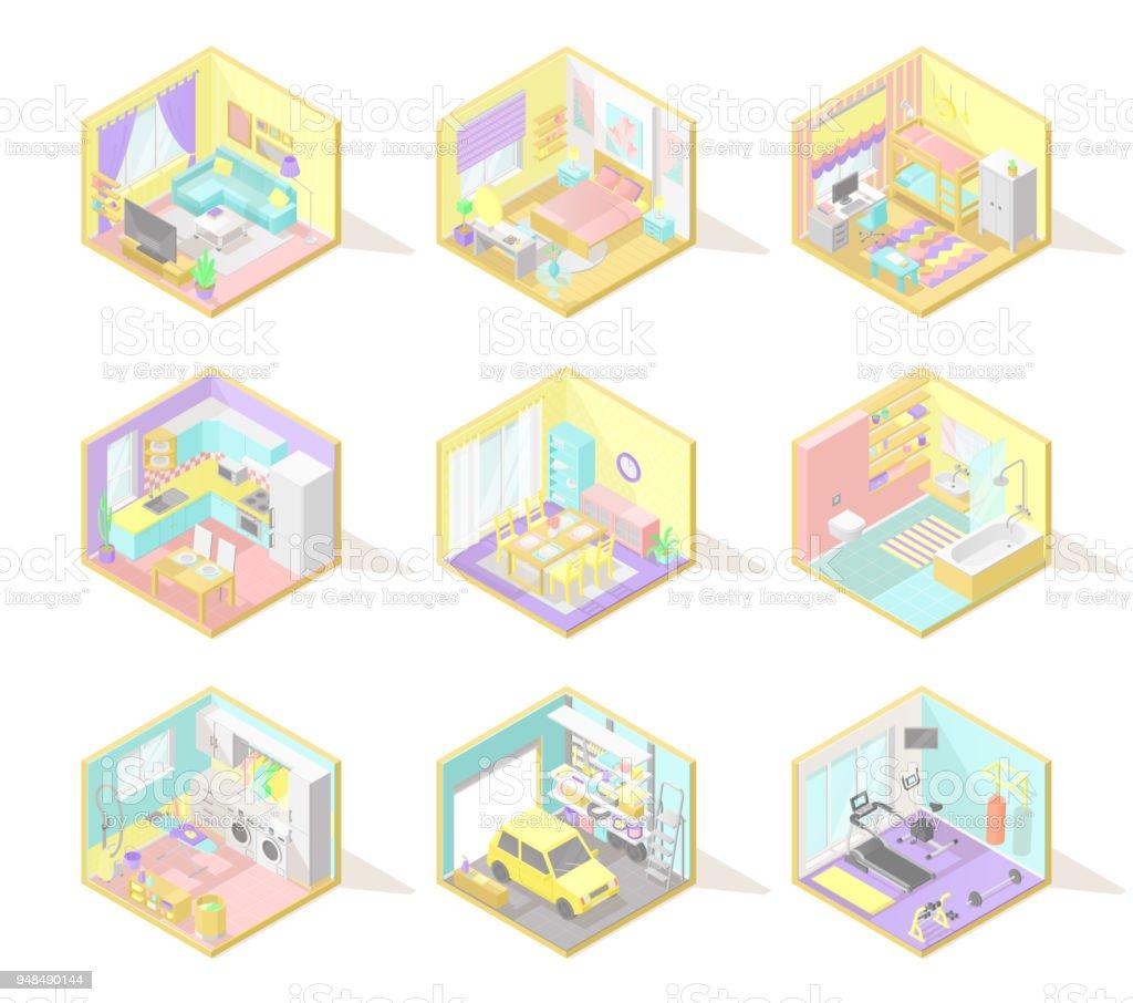 Ilustración de Conjunto Gran Vector De Interiores Isométricas y más ...