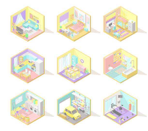 vektor-großes set von isometrischen inneneinrichtungen - waschküchendekorationen stock-grafiken, -clipart, -cartoons und -symbole
