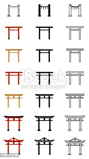 Vector Big Set of Silhouette, Line and Color Flat Torii Gate Icons. Symbol of Shintoism