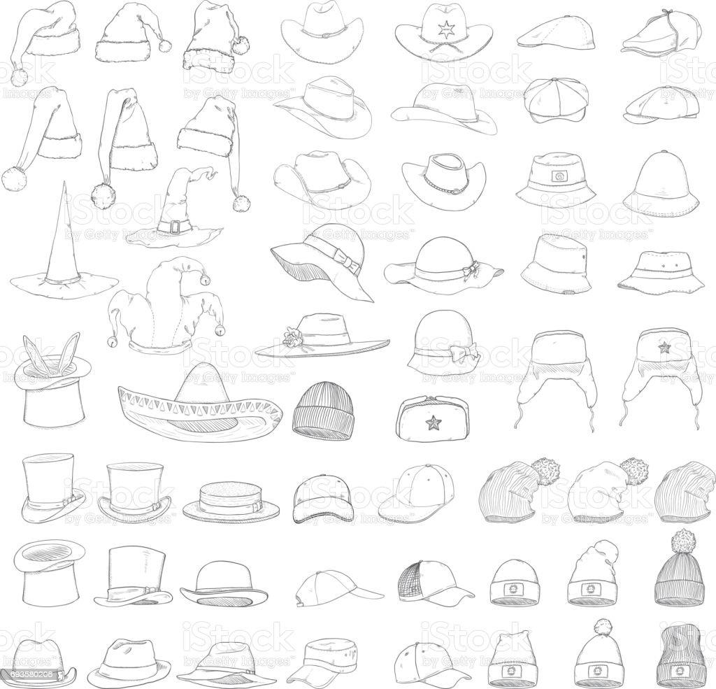 Vector Big Set of Sketch Hats and Caps vector art illustration