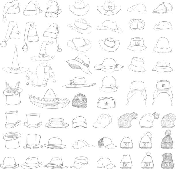 ab53a24ae4d Vector Big Set of Sketch Hats and Caps vector art illustration