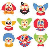 Vector big set with different clowns cartoon. Vector pack with