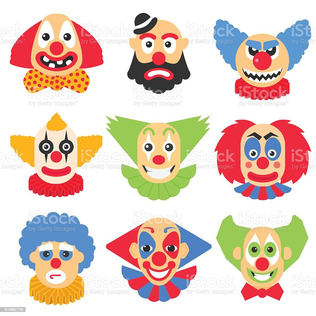 Vector big set with different clowns cartoon. Vector pack with - Illustration vectorielle