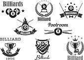 Vector billiards poolroom sport tournament badges