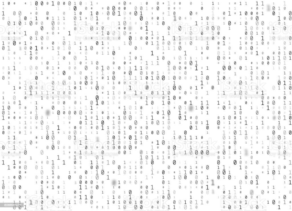 Vector binary code white seamless background. Big data and programming hacking, decryption and encryption, computer streaming black numbers 1,0. Coding or Hacker concept texture or web page fill vector art illustration