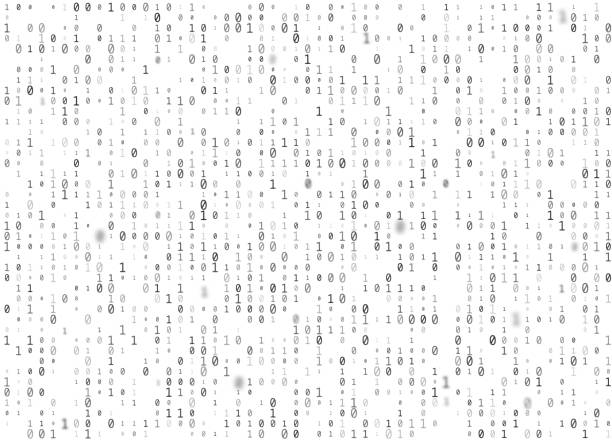 vector binary code white seamless background. big data and programming hacking, decryption and encryption, computer streaming black numbers 1,0. coding or hacker concept texture or web page fill - algorithm stock illustrations