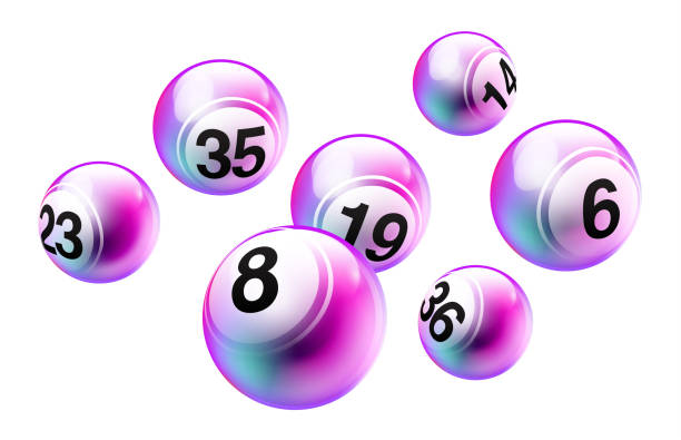 stockillustraties, clipart, cartoons en iconen met vector bingo loterij nummer ballen set - bal