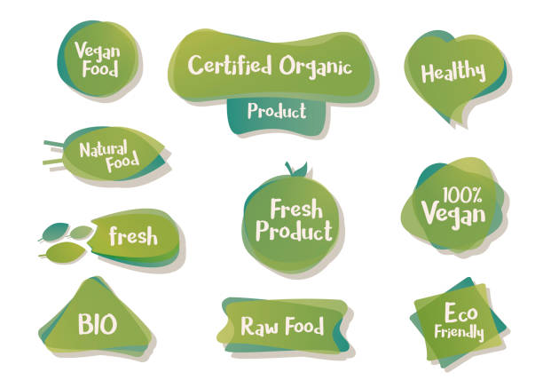 Vector bio and vegetarian design shapes, icons, tags, labels. Organic food element set for meal and drink,cafe, restaurants and organic products packaging Editable vector design. Feel free to change the text. organic farm stock illustrations