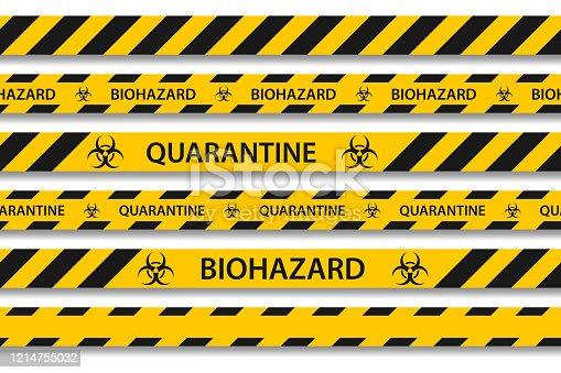 Vector biohazard danger yellow black seamless tape set isolated on white background. Safety fencing ribbon. Quarantine flu. Warning danger of influenza hazard. Global pandemic coronavirus COVID-19.