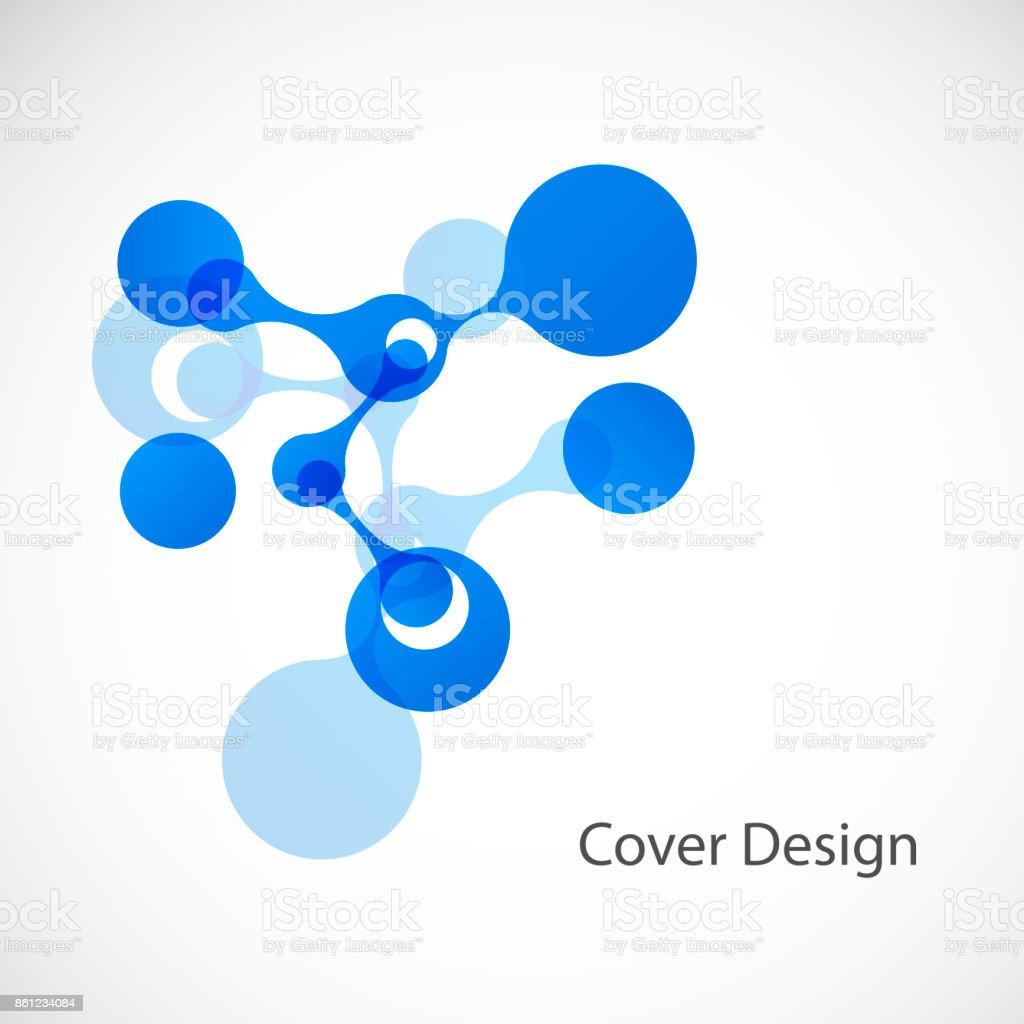 Vector biotechnology illustration. Science design molecule, formula, DNA vector art illustration