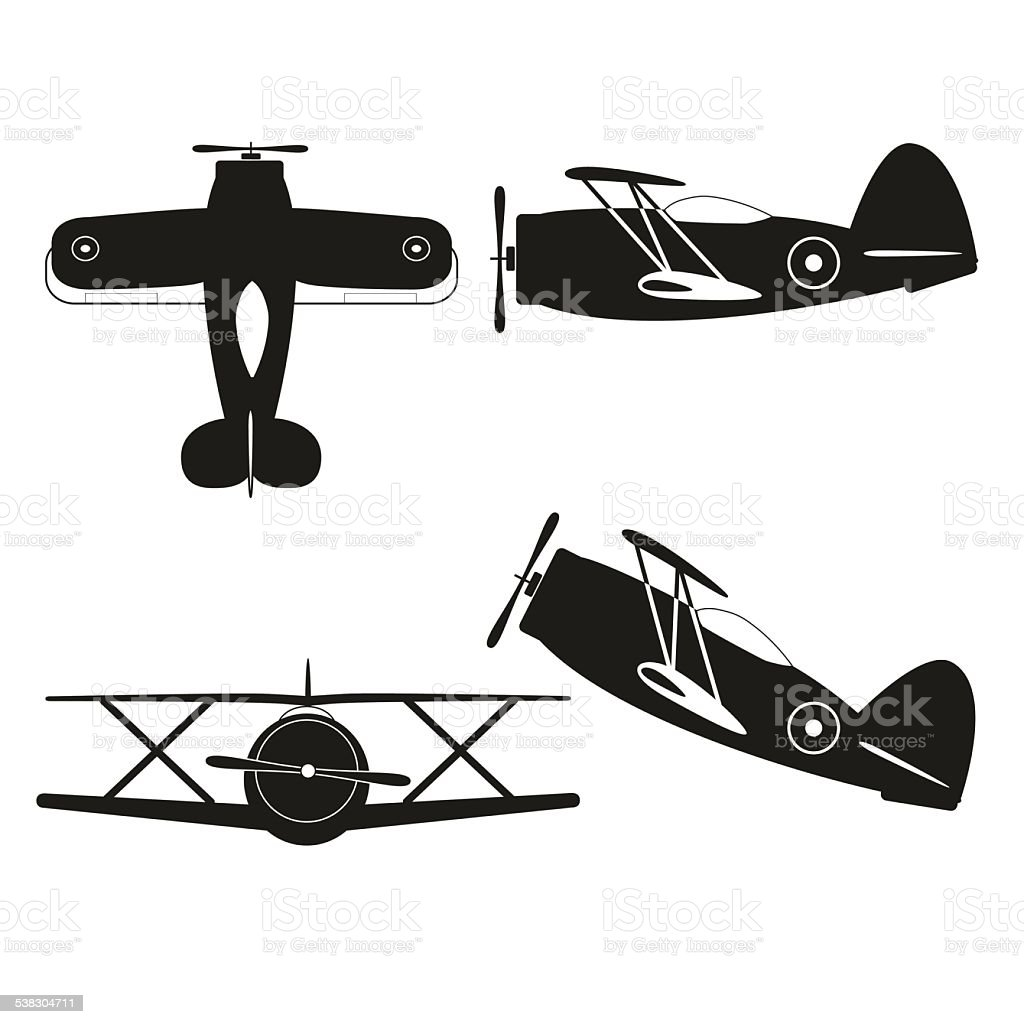 Vector Biplane Silhouette Royalty Free Stock Art Amp More Images