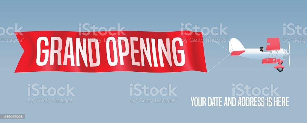 Vector biplane with wavy advertising banner for grand opening illustration vector art illustration