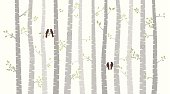 Vector Birch or Aspen Trees with Autumn Leaves and Love Birds. No transparencies or gradients used. Large JPG included. Each element is individually grouped for easy editing.