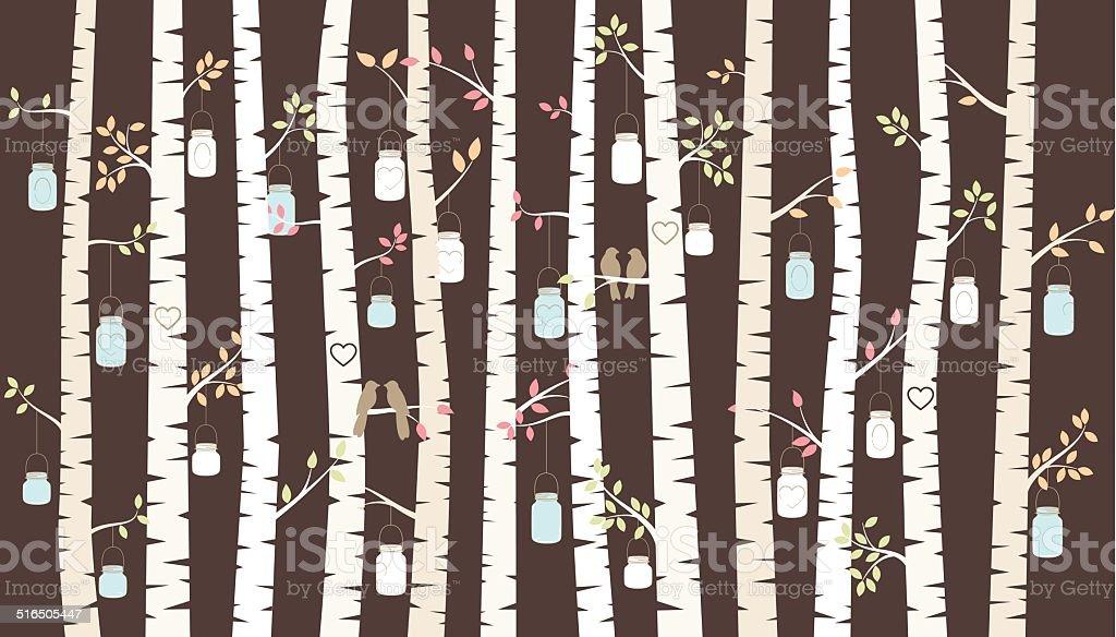 Vector Birch or Aspen Trees with Hanging Mason Jars vector art illustration