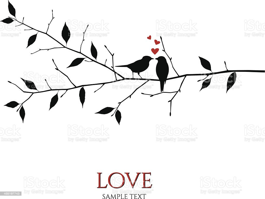 vector birds on branch - love and romance concept vector art illustration