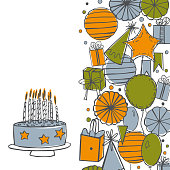 Vector birthday background. Garlands,paper Pom Poms, confetti, gifts, cake, sweets, balloons.