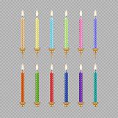 Vector birthday cake candle icon set