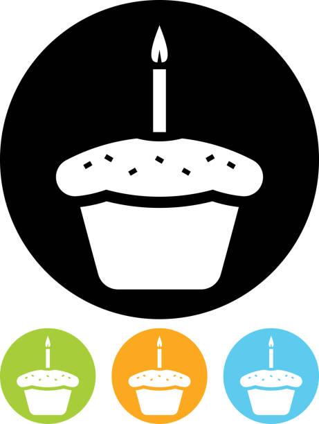 Vecteur Gâteau d'anniversaire icône - Illustration vectorielle