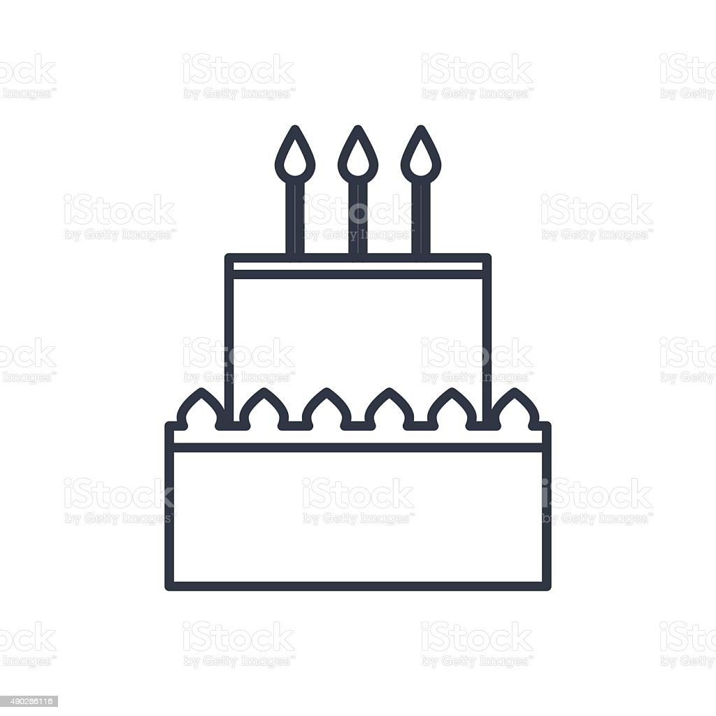 Vector Birthday Cake Outline Icon Food Symbol Stock Vector Art