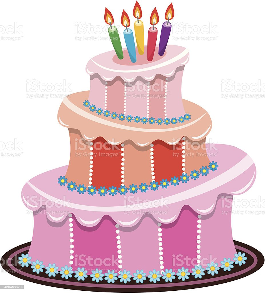 Vector Birthday Cake Stock Vector Art More Images Of Bakery