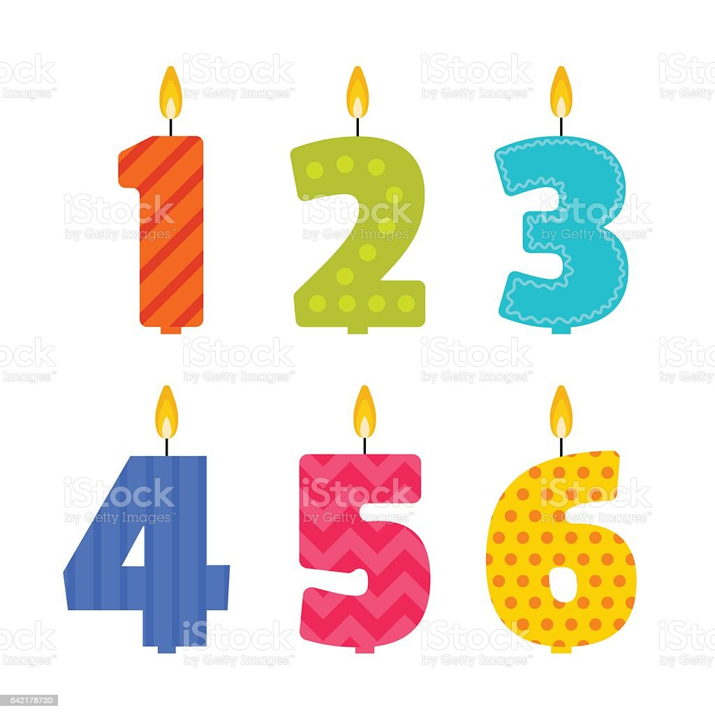 Vector birthday candle set in the shape of numbers vector art illustration