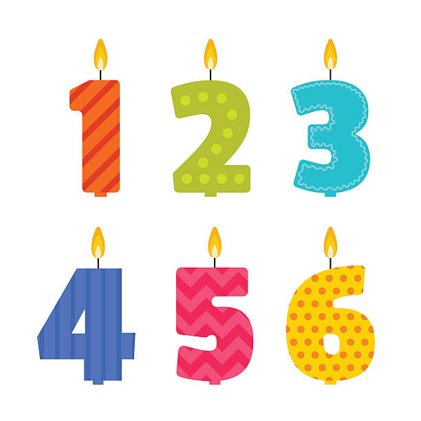vector birthday candle set in the shape of numbers - happy birthday cake stock illustrations, clip art, cartoons, & icons