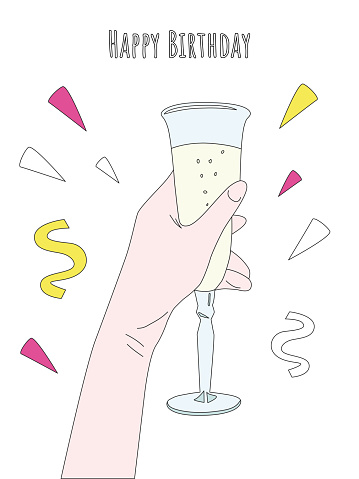 Vector birthday card template with a glass of champagne