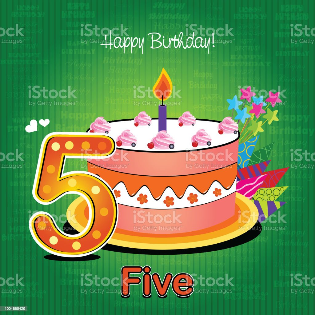 Vector Birthday Card With Colorful Cakes And Numbers Candles