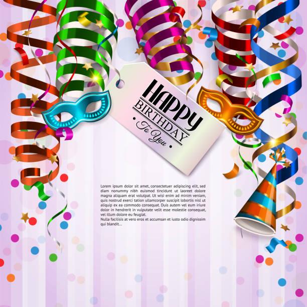 ilustrações de stock, clip art, desenhos animados e ícones de vector birthday card with colorful curling ribbons, birthday mask, hat and confetti. - tape face
