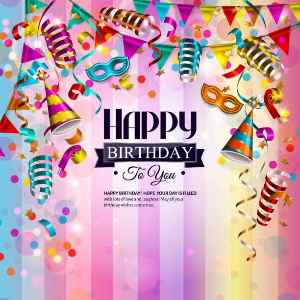 Tarjeta de cumpleaños de vector con cintas coloridas que se encrespa, mascarilla cumpleaños, sombrero y confeti. - ilustración de arte vectorial
