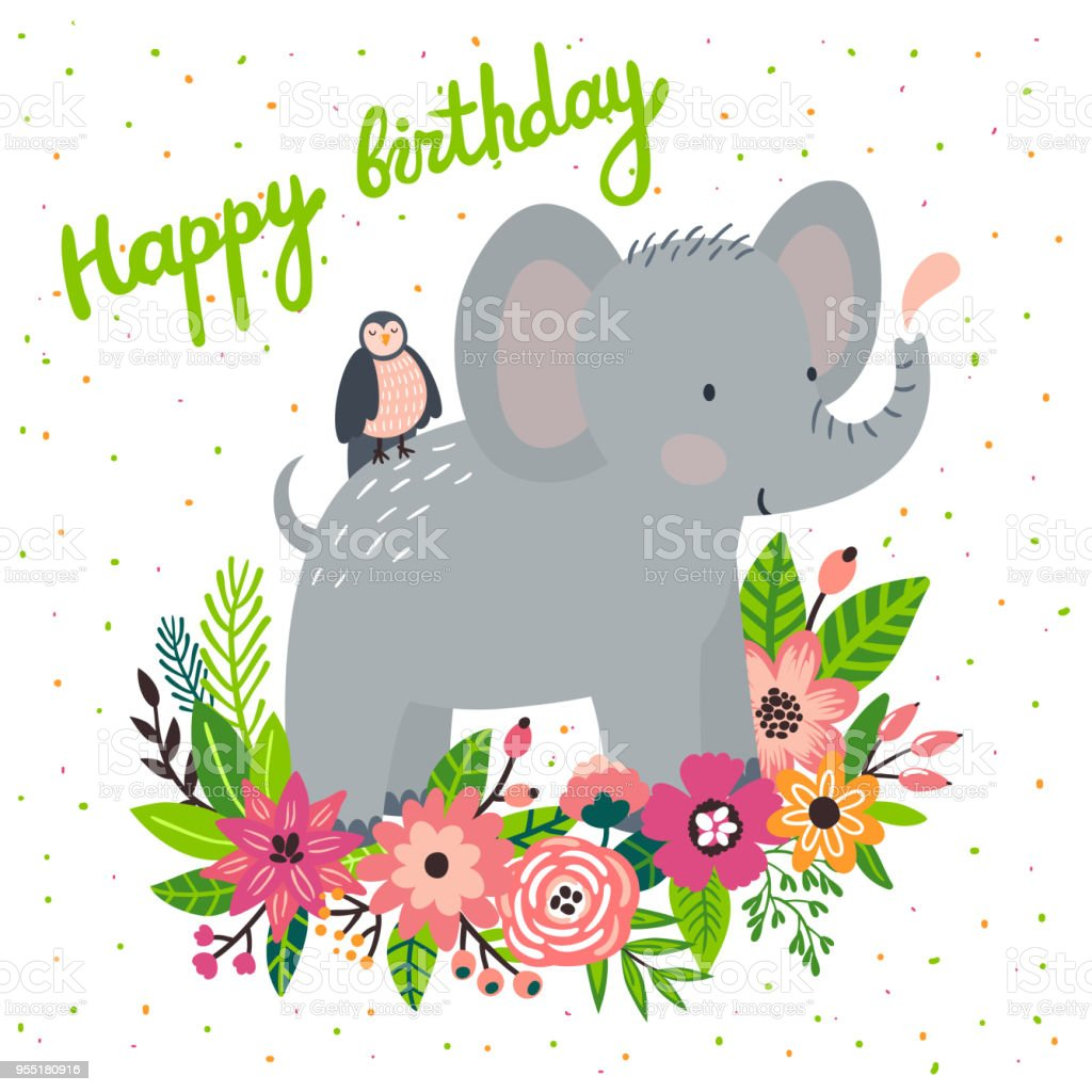 Vector Birthday Card With Cute Elephant And Bird In The Flowers
