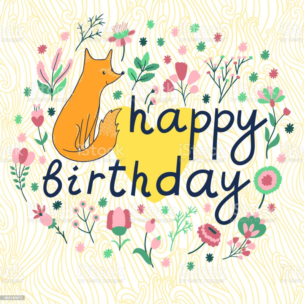 Vector Birthday Card With Cute Fox Different Flowers Leaves Branches