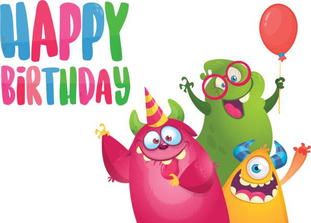Vektor-Geburtstagskarte mit nette lustige Monster im Cartoon-Stil. Design für Poster oder print Dekoration – Vektorgrafik