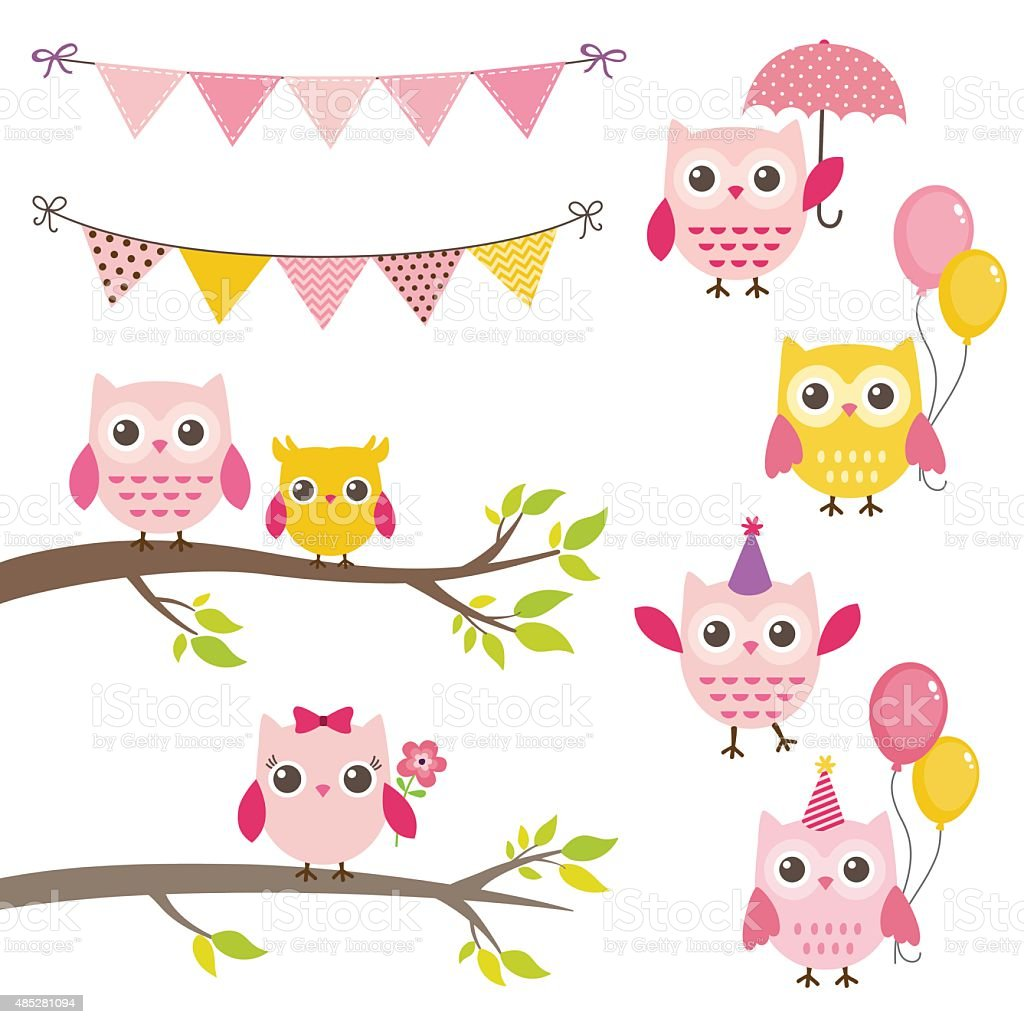 Vector Birthday Party Elements With Owls Bunting Banners