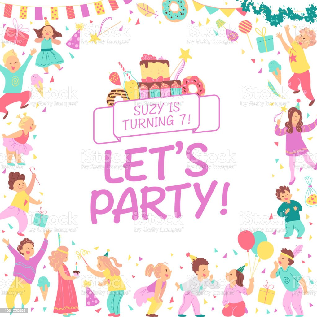Vector Birthday Party Invitation Design Template With Bd Cake Garlands Candy Gifts