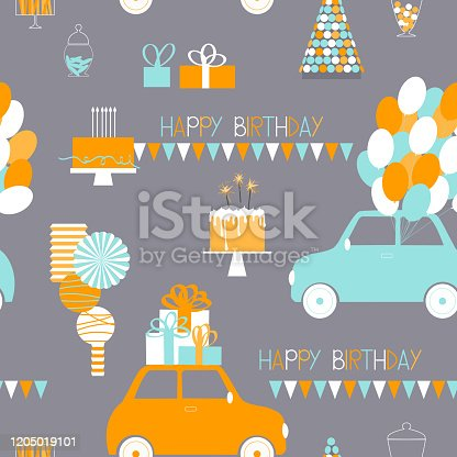 istock Vector birthday  pattern with cars, balloons and gifts 1205019101