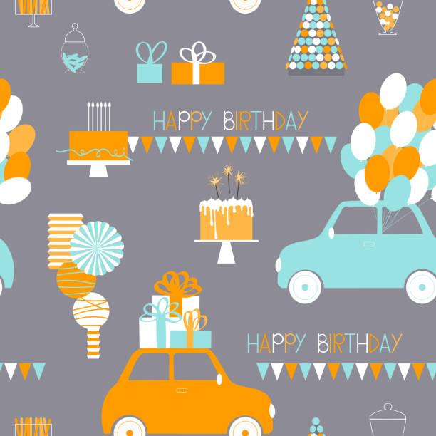 ilustrações, clipart, desenhos animados e ícones de padrão de aniversário do vetor com carros, balões e presentes - conceitos e temas