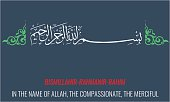 Vector Bismillah. Islamic or arabic Calligraphy. Basmala.