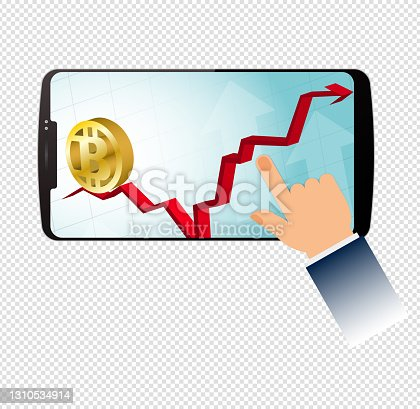 istock Vector bitcoin symbol and bar Graph in smart phone 1310534914
