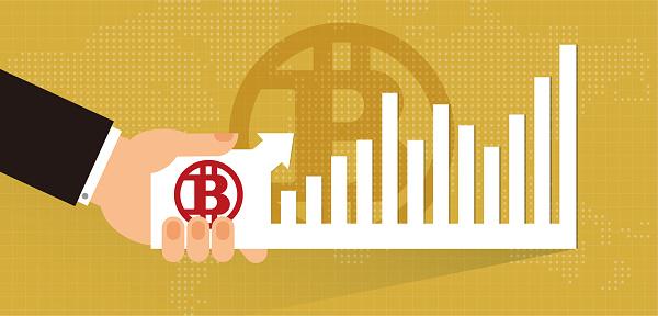 Vector bitcoin symbol and bar Graph