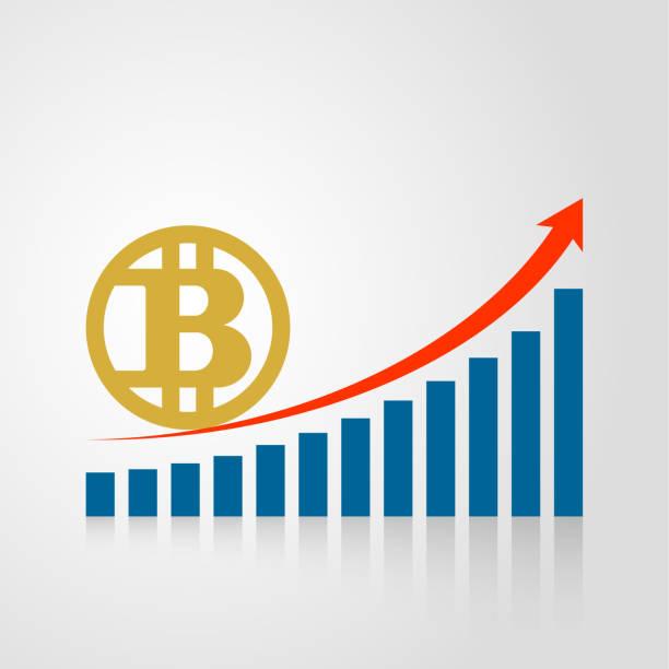 vektor-bitcoin-symbol und balkendiagramm - messlatte stock-grafiken, -clipart, -cartoons und -symbole
