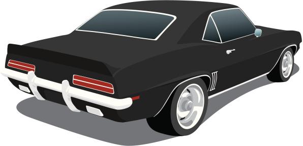 Vector Black 1969 Chevy Camaro