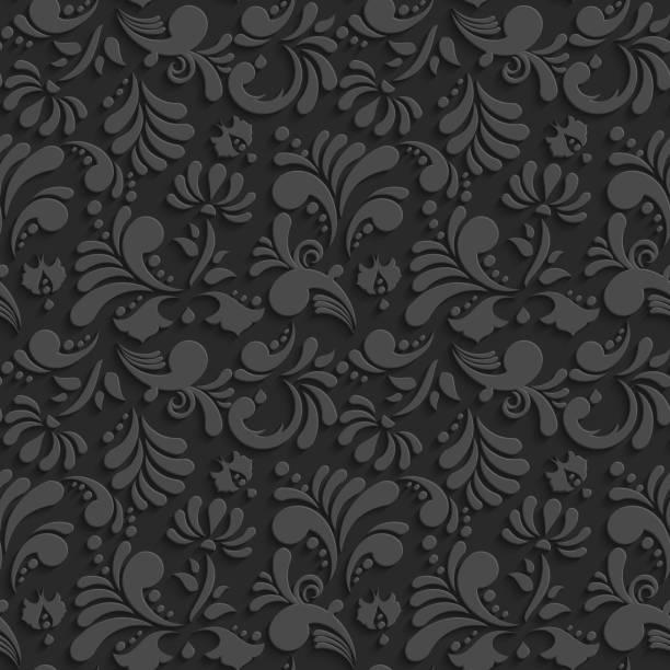 vektor schwarz 3d nahtlose muster mit blumenmuster - plüschmuster stock-grafiken, -clipart, -cartoons und -symbole