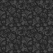 Vector Black 3d Floral Seamless Pattern
