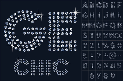 Vector black and diamond alphabet