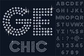 Scalable vector set of letters, numbers and symbols in extend style for digital artwork and typography