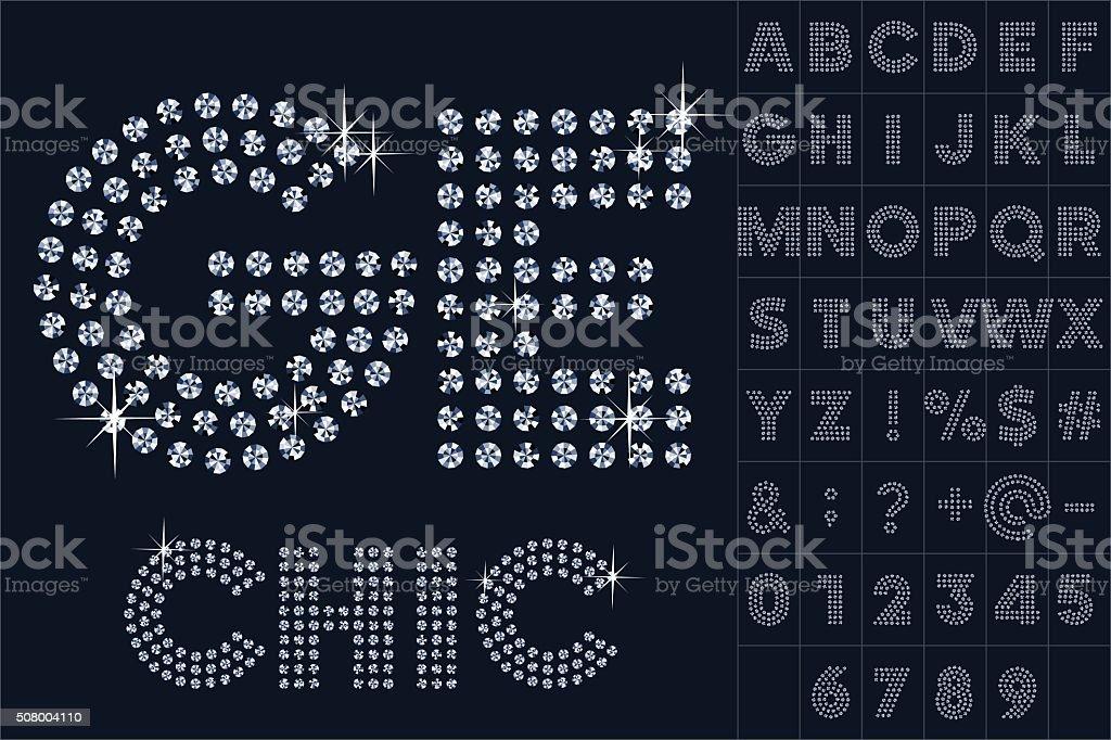 Vector black and diamond alphabet vector art illustration