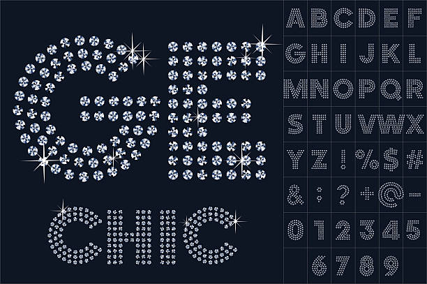 Vector black and diamond alphabet Scalable vector set of letters, numbers and symbols in extend style for digital artwork and typography diamond stock illustrations